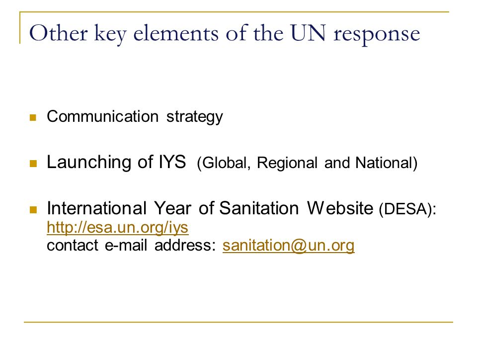 Other key elements of the UN response Communication strategy Launching of IYS (Global, Regional and National) International Year of Sanitation Website