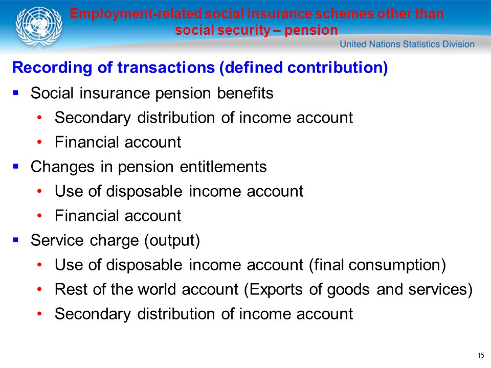 15 Employment-related social insurance schemes other than social security – pension Recording of transactions (defined contribution) Social insurance pension benefits Secondary distribution of income account Financial account Changes in pension entitlements Use of disposable income account Financial account Service charge (output) Use of disposable income account (final consumption) Rest of the world account (Exports of goods and services) Secondary distribution of income account