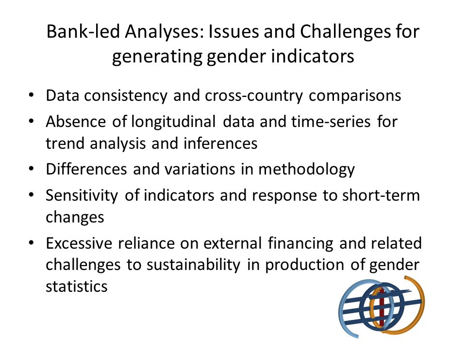 Bank-led Analyses: Issues and Challenges for generating gender indicators Data consistency and cross-country comparisons Absence of longitudinal data and time-series for trend analysis and inferences Differences and variations in methodology Sensitivity of indicators and response to short-term changes Excessive reliance on external financing and related challenges to sustainability in production of gender statistics