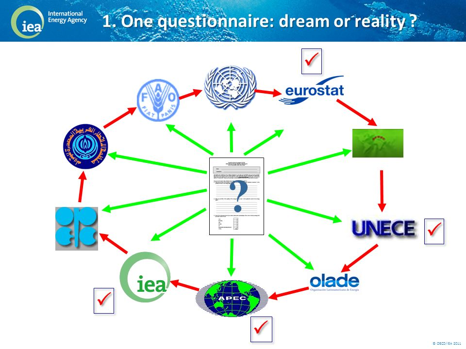 © OECD/IEA 2011 FAO UN OPEC OAPEC AFREC 1. One questionnaire : dream or reality
