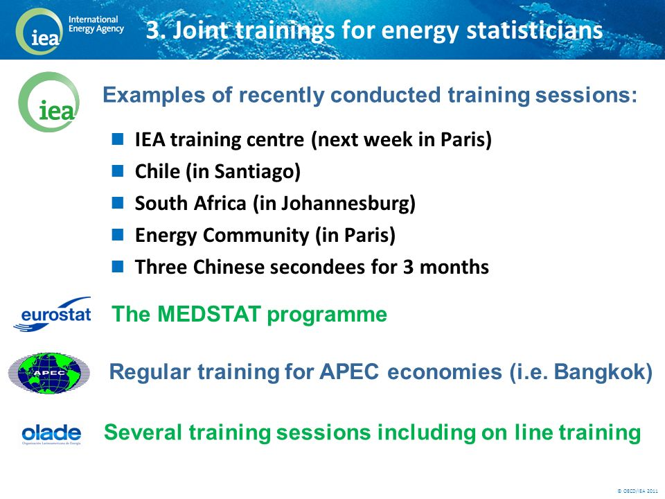 © OECD/IEA 2011 3. Joint trainings for energy statisticians IEA training centre (next week in Paris) Chile (in Santiago) South Africa (in Johannesburg