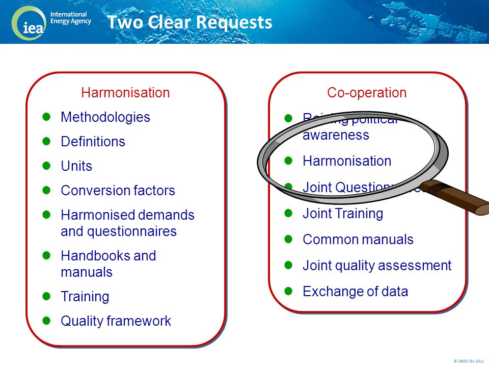 © OECD/IEA 2011 Two Clear Requests Harmonisation Methodologies Definitions Units Conversion factors Harmonised demands and questionnaires Handbooks and manuals Training Quality framework Harmonisation Methodologies Definitions Units Conversion factors Harmonised demands and questionnaires Handbooks and manuals Training Quality framework Co-operation Raising political awareness Harmonisation Joint Questionnaires Joint Training Common manuals Joint quality assessment Exchange of data Co-operation Raising political awareness Harmonisation Joint Questionnaires Joint Training Common manuals Joint quality assessment Exchange of data