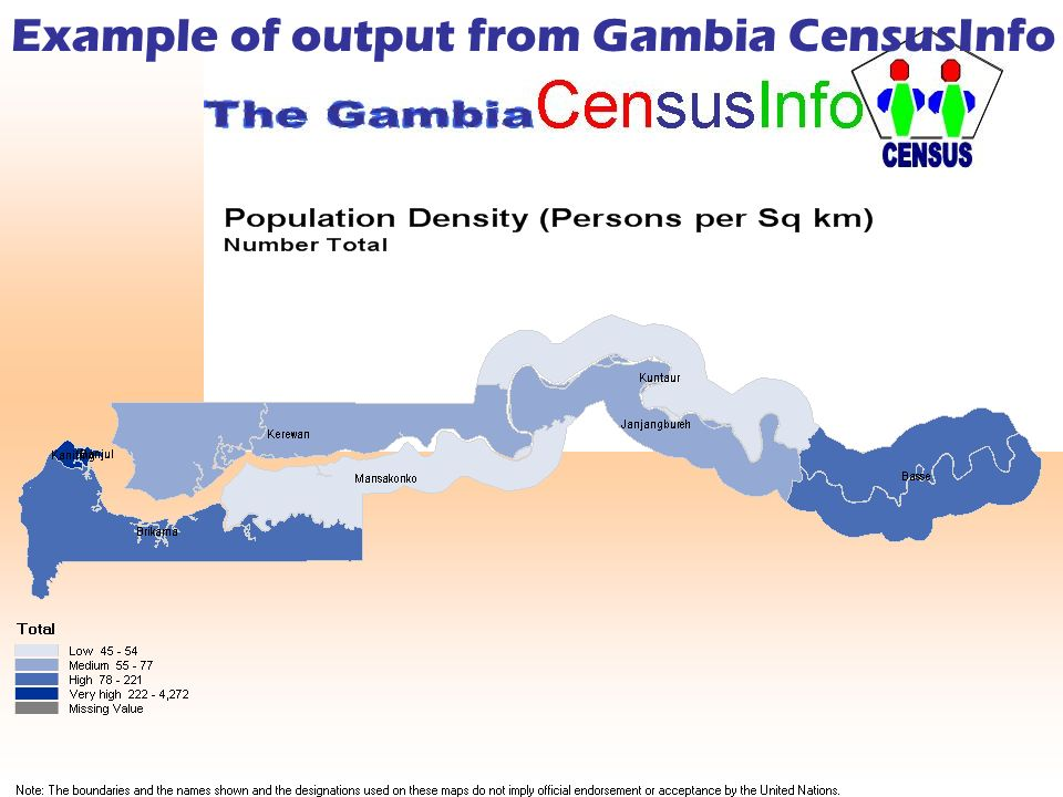 Example of output from Gambia CensusInfo