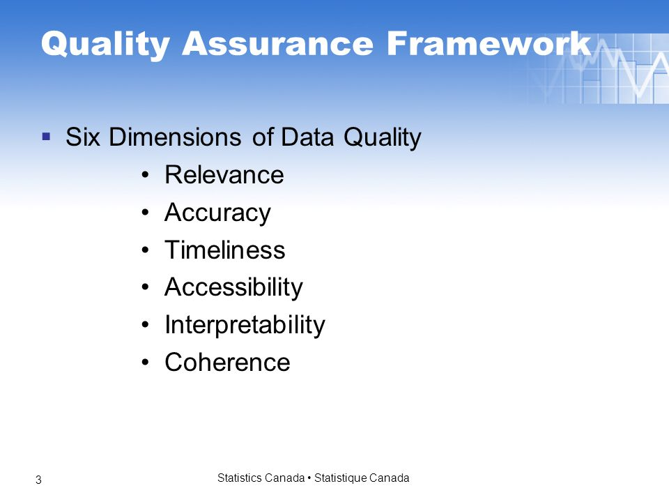Statistics Canada Statistique Canada 3 Quality Assurance Framework Six Dimensions of Data Quality Relevance Accuracy Timeliness Accessibility Interpretability Coherence