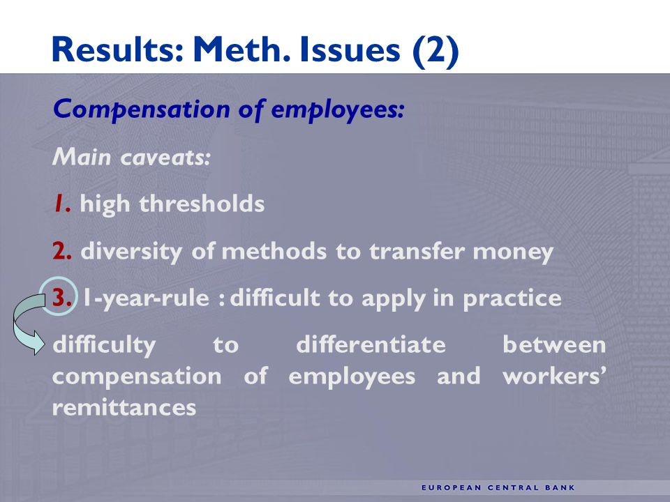 Compensation of employees: Main caveats: 1. high thresholds 2.