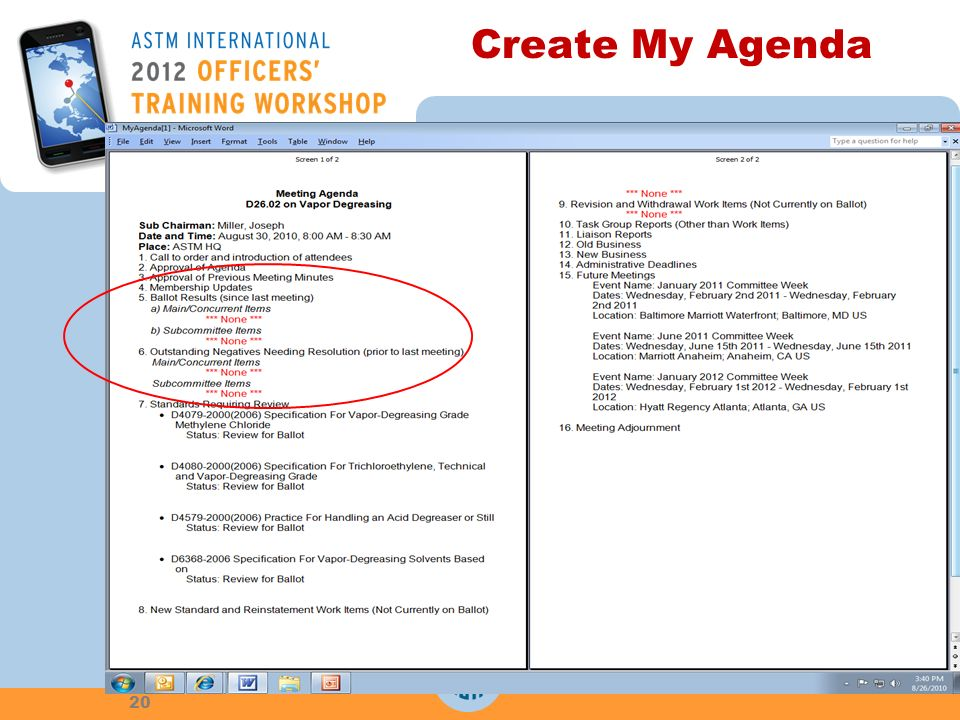 Create My Agenda 20
