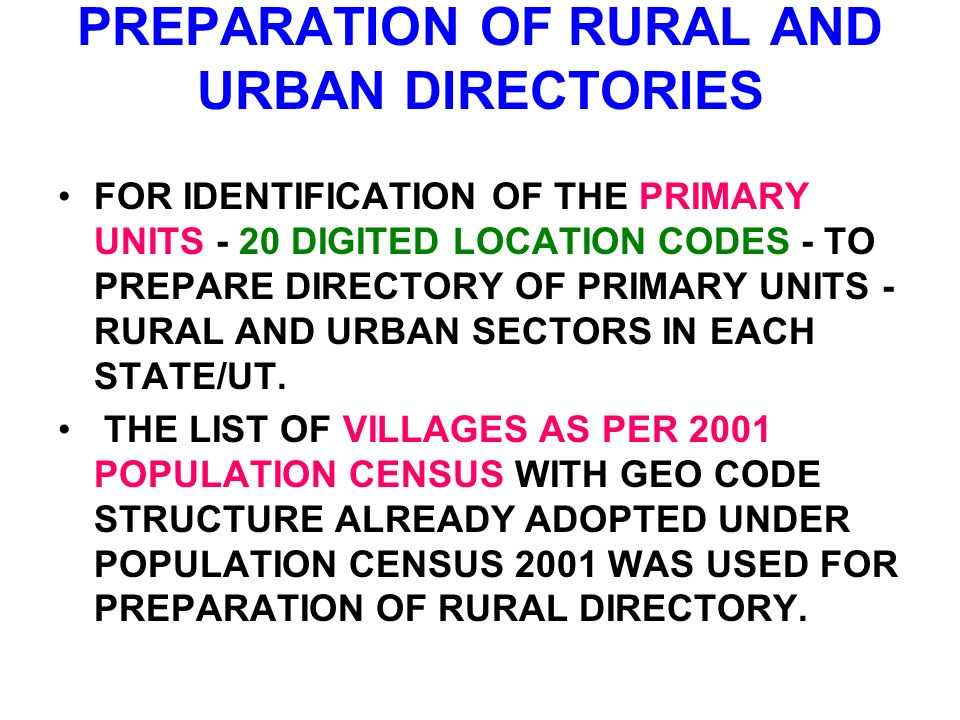 PREPARATION OF RURAL AND URBAN DIRECTORIES FOR IDENTIFICATION OF THE PRIMARY UNITS - 20 DIGITED LOCATION CODES - TO PREPARE DIRECTORY OF PRIMARY UNITS