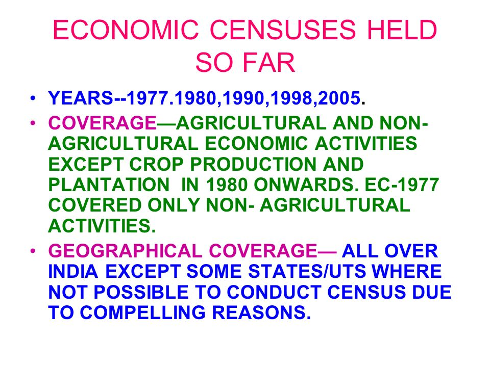 ECONOMIC CENSUSES HELD SO FAR YEARS--1977.1980,1990,1998,2005.