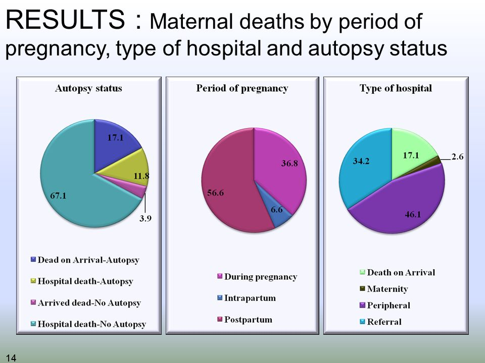 14 RESULTS : Maternal deaths by period of pregnancy, type of hospital and autopsy status