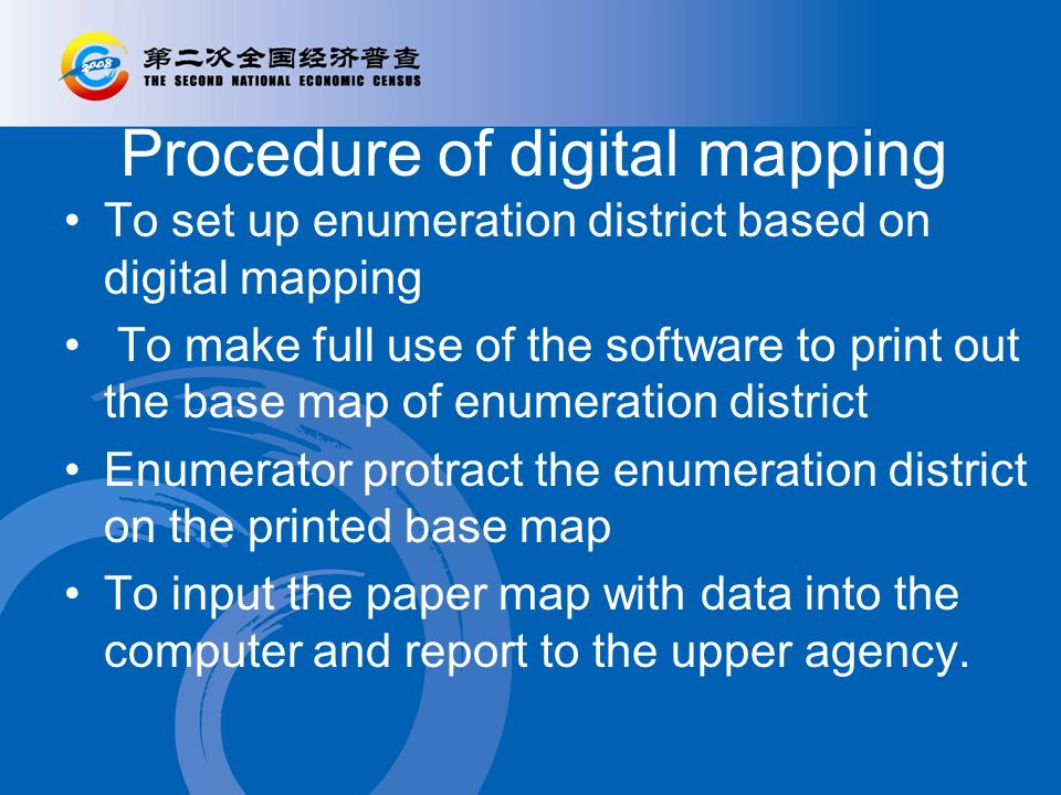 Procedure of digital mapping To set up enumeration district based on digital mapping To make full use of the software to print out the base map of enumeration district Enumerator protract the enumeration district on the printed base map To input the paper map with data into the computer and report to the upper agency.