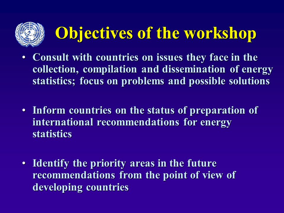 Objectives of the workshop Consult with countries on issues they face in the collection, compilation and dissemination of energy statistics; focus on