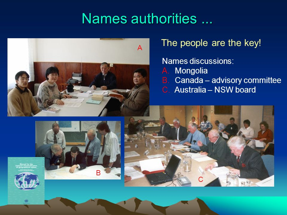 Names authorities... A B C Names discussions: A. Mongolia B. Canada – advisory committee C. Australia – NSW board The people are the key!