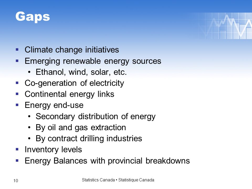 Statistics Canada Statistique Canada 10 Gaps Climate change initiatives Emerging renewable energy sources Ethanol, wind, solar, etc. Co-generation of