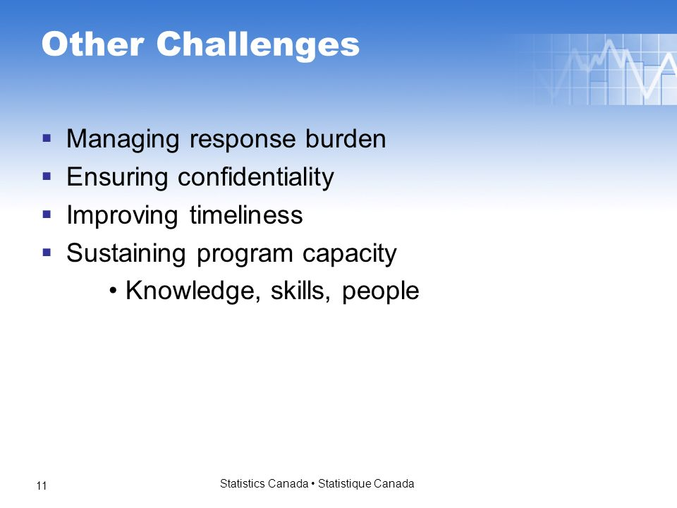 Statistics Canada Statistique Canada 11 Other Challenges Managing response burden Ensuring confidentiality Improving timeliness Sustaining program cap