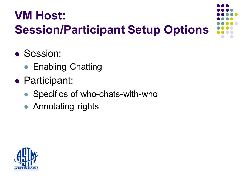 VM Host: Session/Participant Setup Options Session: Enabling Chatting Participant: Specifics of who-chats-with-who Annotating rights