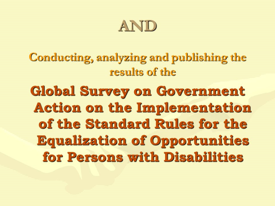 The Survey: Identified 324 actions derived from the 22 RulesIdentified 324 actions derived from the 22 Rules Was sent to 191 Member States & two disabled persons organizations in each countryWas sent to 191 Member States & two disabled persons organizations in each country Is based on information gathered from 114 countriesIs based on information gathered from 114 countries