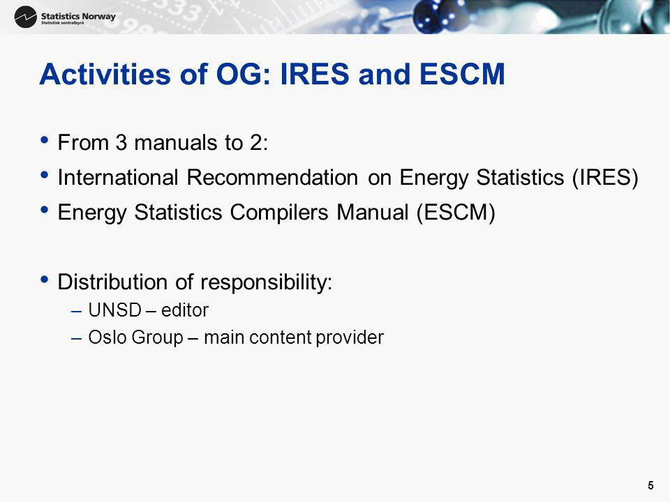 5 Activities of OG: IRES and ESCM From 3 manuals to 2: International Recommendation on Energy Statistics (IRES) Energy Statistics Compilers Manual (ES