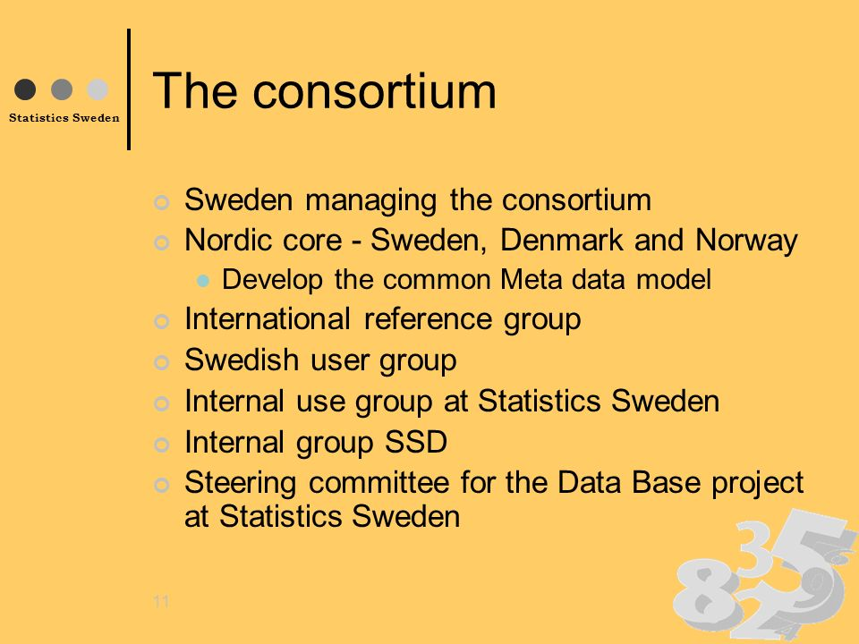 Statistics Sweden 11 The consortium Sweden managing the consortium Nordic core - Sweden, Denmark and Norway Develop the common Meta data model International reference group Swedish user group Internal use group at Statistics Sweden Internal group SSD Steering committee for the Data Base project at Statistics Sweden