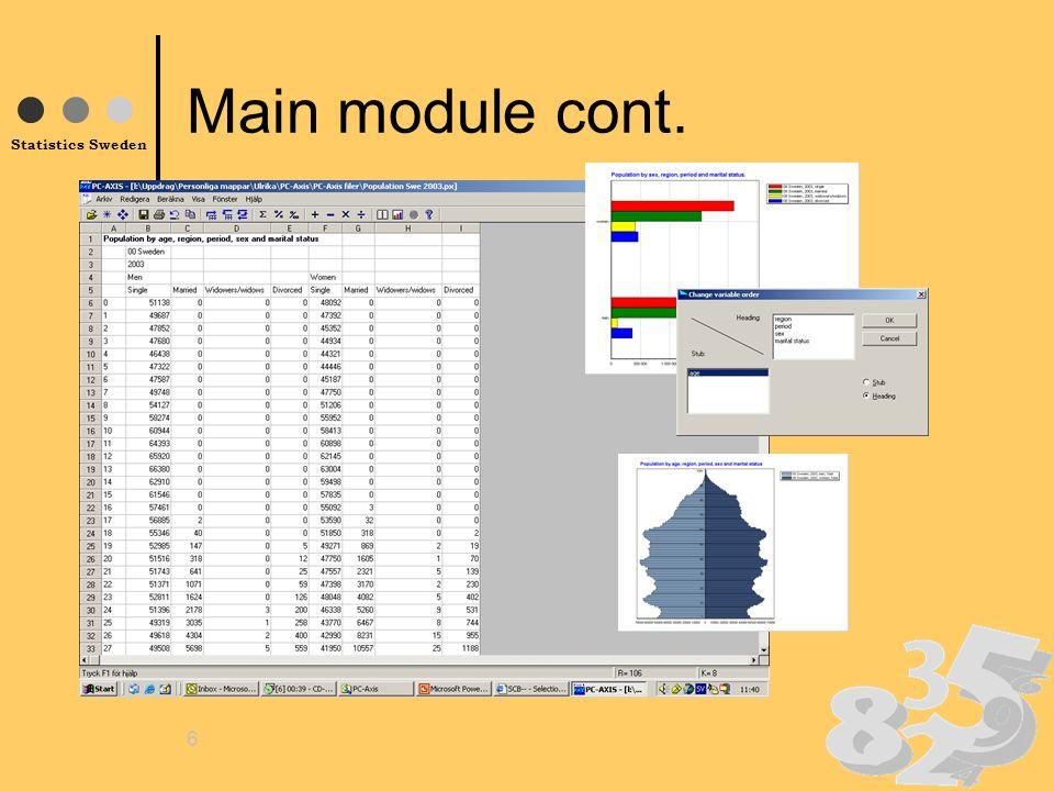 Statistics Sweden 6 Main module cont.