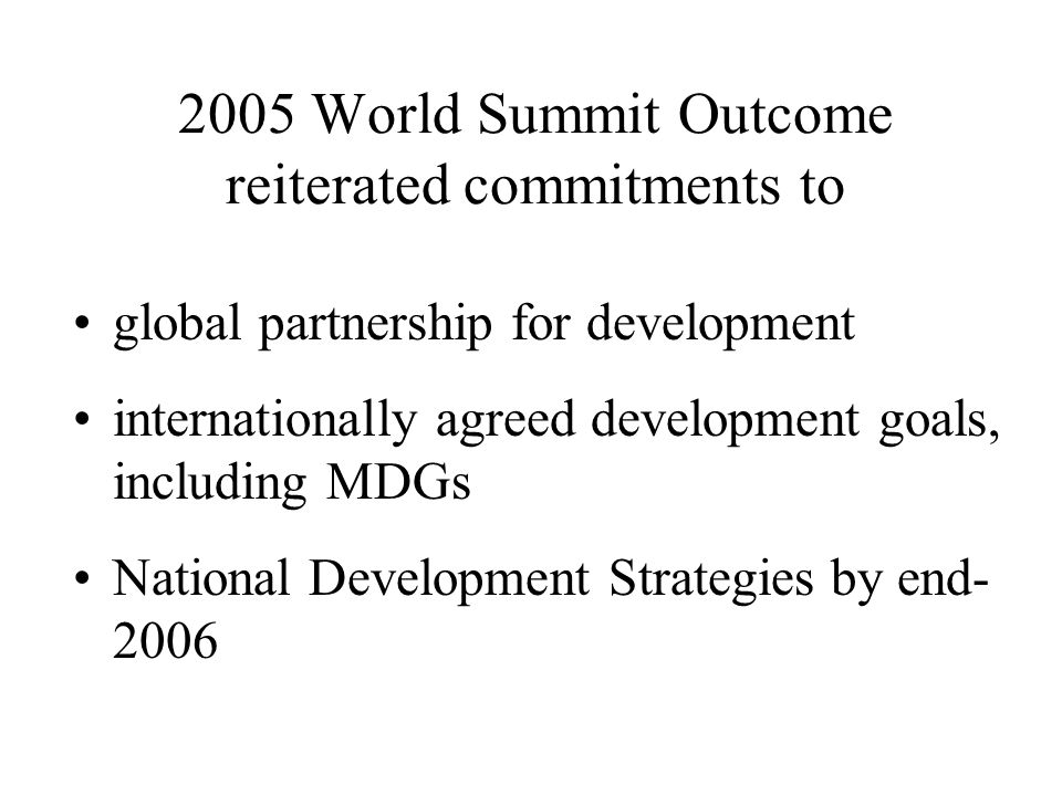 Debt sustainability UN SG defined this as enabling countries to acquire financing to meet the MDGs without further deterioration of their indebtedness