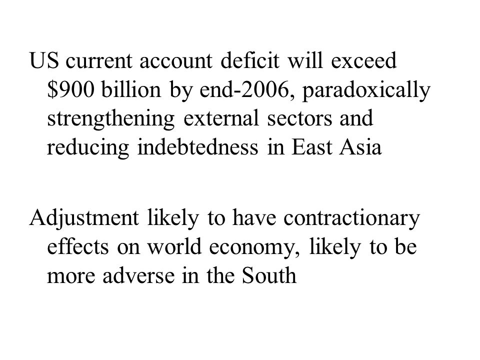 US current account deficit will exceed $900 billion by end-2006, paradoxically strengthening external sectors and reducing indebtedness in East Asia Adjustment likely to have contractionary effects on world economy, likely to be more adverse in the South