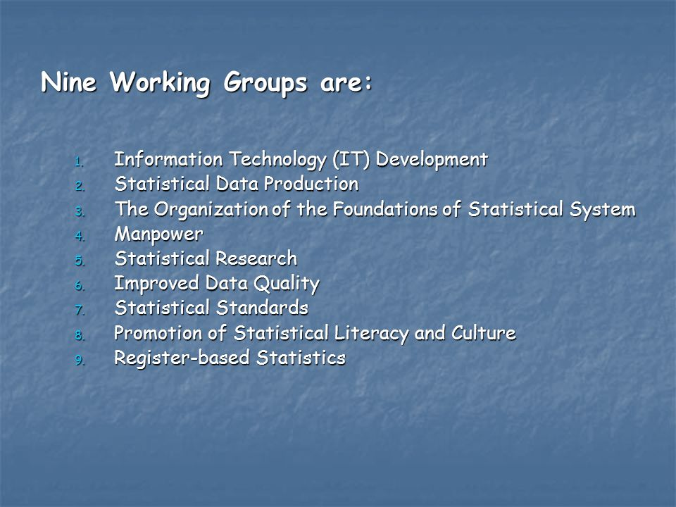 Nine Working Groups are: 1. Information Technology (IT) Development 2.