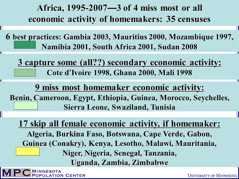 Africa, 1995-2007 3 of 4 miss most or all economic activity of homemakers: 35 censuses 3 capture some (all??) secondary economic activity: Cote d Ivoire 1998, Ghana 2000, Mali 1998 17 skip all female economic activity, if homemaker: Algeria, Burkina Faso, Botswana, Cape Verde, Gabon, Guinea (Conakry), Kenya, Lesotho, Malawi, Mauritania, Niger, Nigeria, Senegal, Tanzania, Uganda, Zambia, Zimbabwe 9 miss most homemaker economic activity: Benin, Cameroon, Egypt, Ethiopia, Guinea, Morocco, Seychelles, Sierra Leone, Swaziland, Tunisia 6 best practices: Gambia 2003, Mauritius 2000, Mozambique 1997, Namibia 2001, South Africa 2001, Sudan 2008