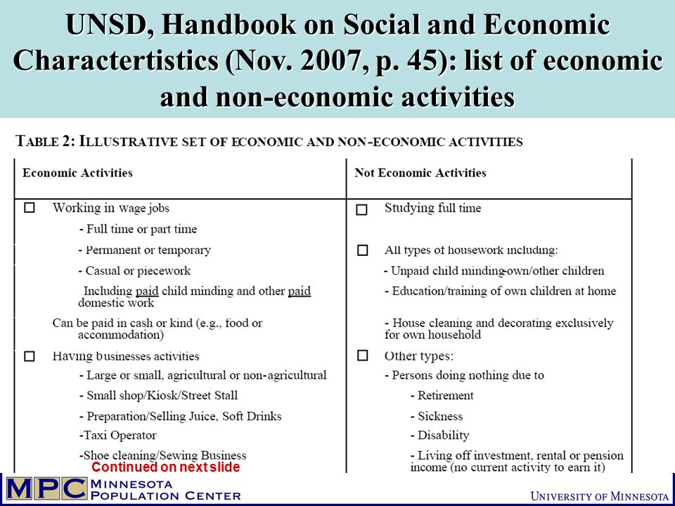 UNSD, Handbook on Social and Economic Charactertistics (Nov.