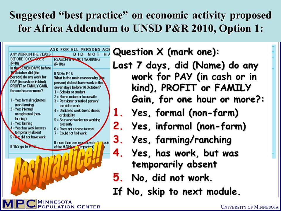 Suggested best practice on economic activity proposed for Africa Addendum to UNSD P&R 2010, Option 1: Question X (mark one): Last 7 days, did (Name) do any work for PAY (in cash or in kind), PROFIT or FAMILY Gain, for one hour or more : 1.