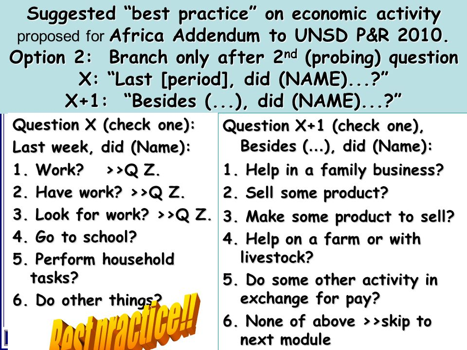 Suggested best practice on economic activity Africa Addendum to UNSD P&R 2010. Option 2: Branch only after 2 nd (probing) question X: Last [period], d