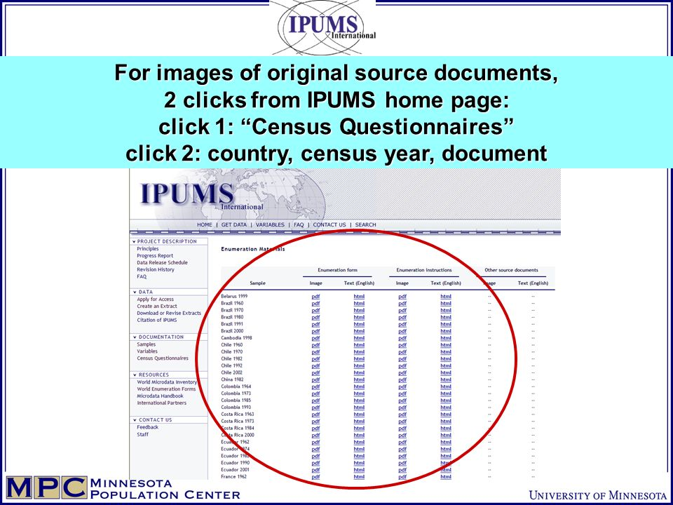 For images of original source documents, 2 clicks from IPUMS home page: click 1: Census Questionnaires click 2: country, census year, document