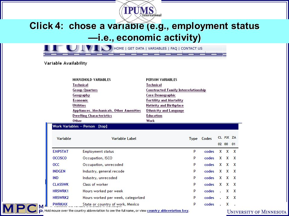 Click 4: chose a variable (e.g., employment status i.e., economic activity)