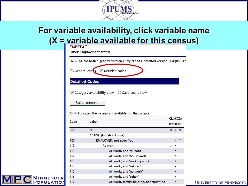 For variable availability, click variable name (X = variable available for this census)