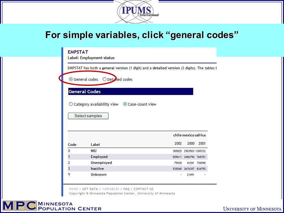 For simple variables, click general codes