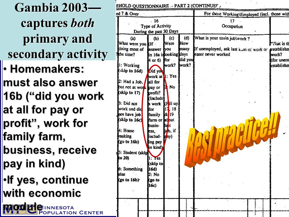 Homemakers: must also answer 16b (did you work at all for pay or profit, work for family farm, business, receive pay in kind) Homemakers: must also answer 16b (did you work at all for pay or profit, work for family farm, business, receive pay in kind) If yes, continue with economic moduleIf yes, continue with economic module Gambia 2003 captures both primary and secondary activity