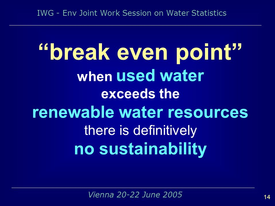 IWG - Env Joint Work Session on Water Statistics 14 Vienna June 2005 break even point when used water exceeds the renewable water resources there is definitively no sustainability