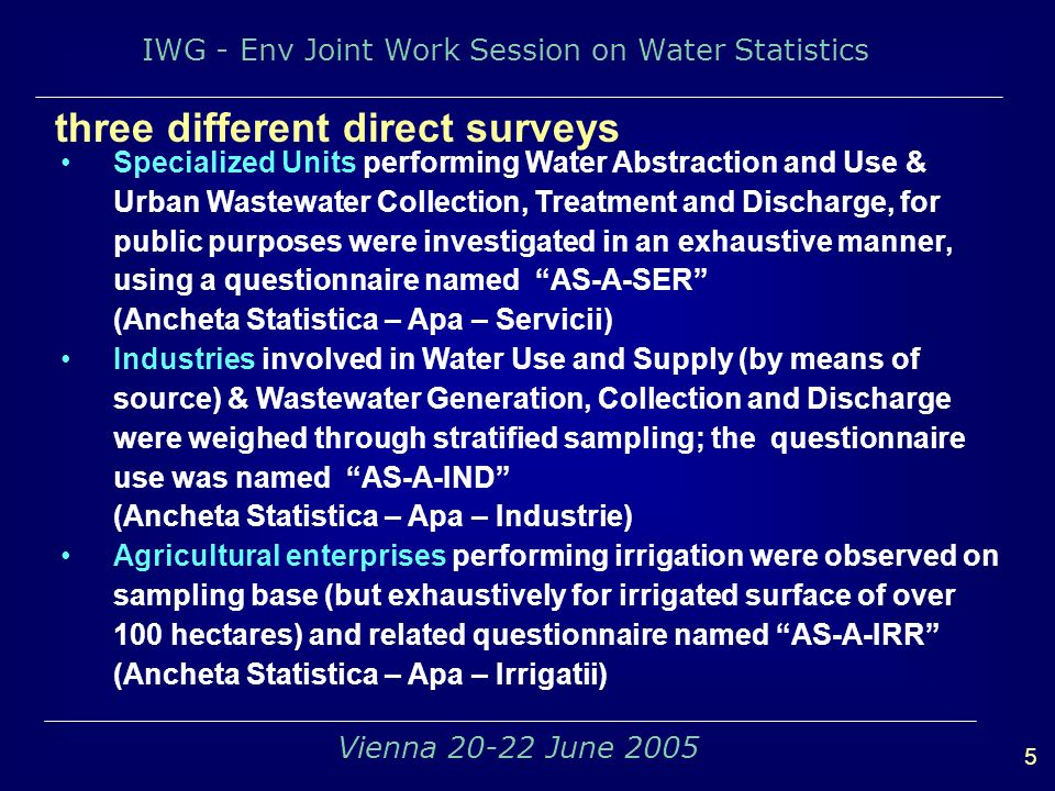 IWG - Env Joint Work Session on Water Statistics 5 Vienna 20-22 June 2005 three different direct surveys Specialized Units performing Water Abstraction and Use & Urban Wastewater Collection, Treatment and Discharge, for public purposes were investigated in an exhaustive manner, using a questionnaire named AS-A-SER (Ancheta Statistica – Apa – Servicii) Industries involved in Water Use and Supply (by means of source) & Wastewater Generation, Collection and Discharge were weighed through stratified sampling; the questionnaire use was named AS-A-IND (Ancheta Statistica – Apa – Industrie) Agricultural enterprises performing irrigation were observed on sampling base (but exhaustively for irrigated surface of over 100 hectares) and related questionnaire named AS-A-IRR (Ancheta Statistica – Apa – Irrigatii)