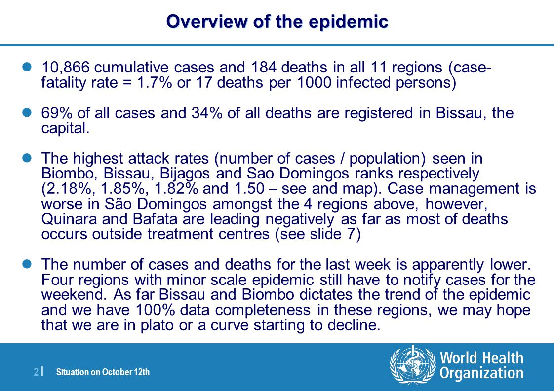 Situation on October 12th 2 |2 | Overview of the epidemic 10,866 cumulative cases and 184 deaths in all 11 regions (case- fatality rate = 1.7% or 17 deaths per 1000 infected persons) 69% of all cases and 34% of all deaths are registered in Bissau, the capital.