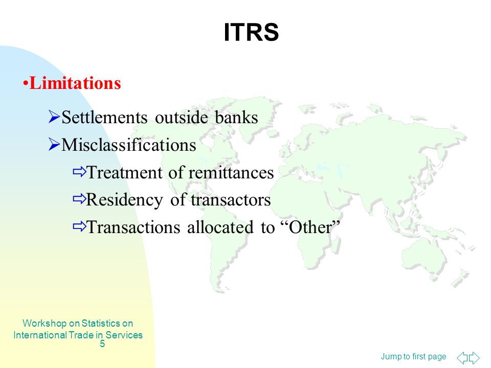 Jump to first page Workshop on Statistics on International Trade in Services 5 ITRS Limitations Settlements outside banks Misclassifications Treatment of remittances Residency of transactors Transactions allocated to Other