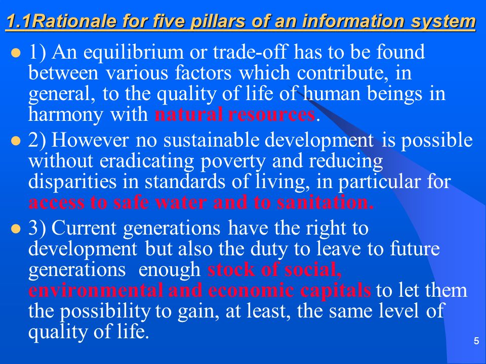 5 1.1Rationale for five pillars of an information system 1) An equilibrium or trade-off has to be found between various factors which contribute, in g