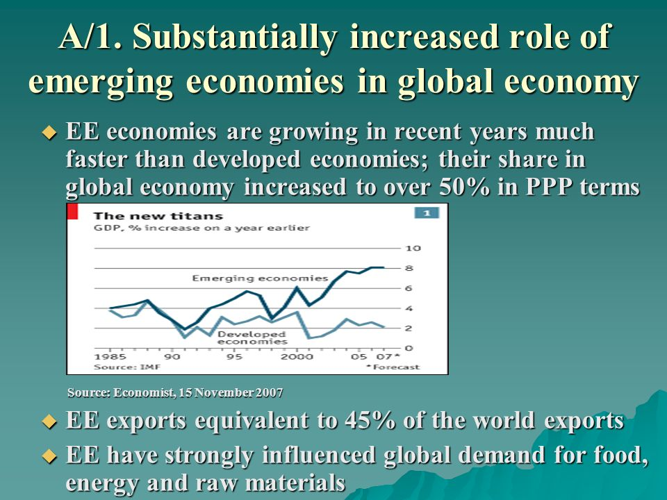 A/1. Substantially increased role of emerging economies in global economy EE economies are growing in recent years much faster than developed economie