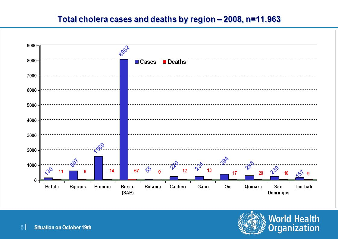 Situation on October 19th 5 |5 | Total cholera cases and deaths by region – 2008, n=11.963