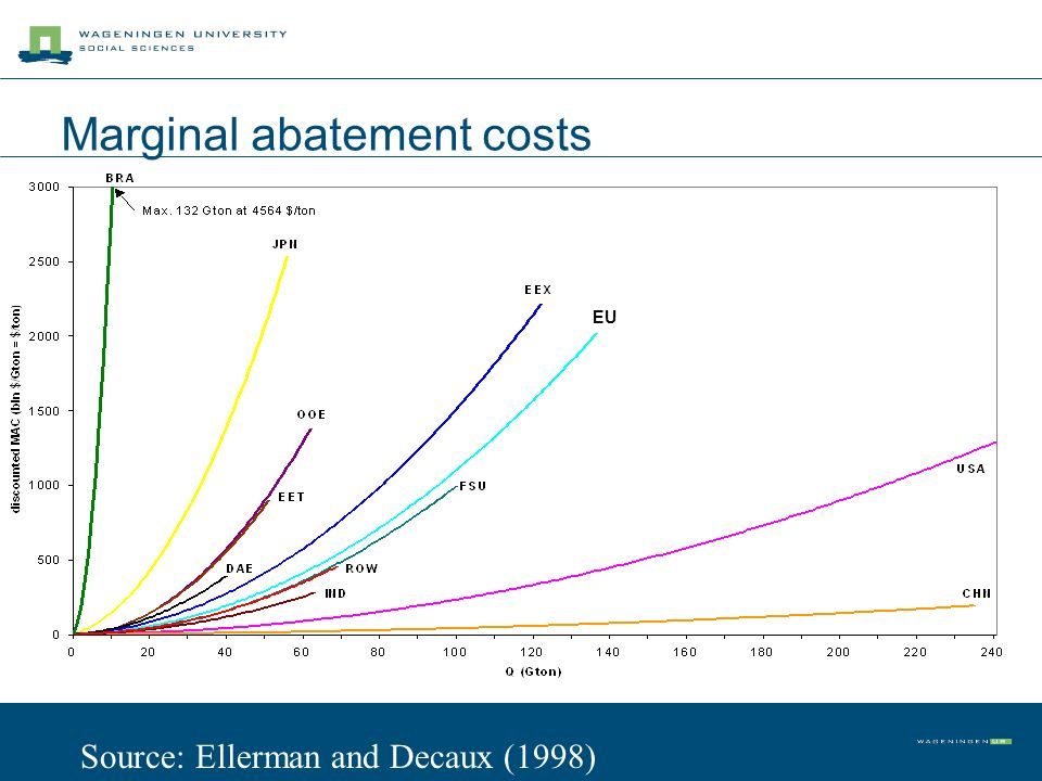 Marginal abatement costs EU Source: Ellerman and Decaux (1998)