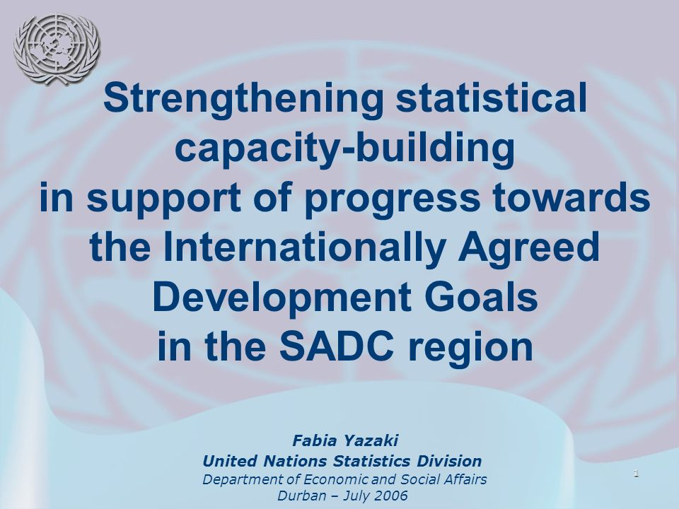 1 Strengthening statistical capacity-building in support of progress towards the Internationally Agreed Development Goals in the SADC region Fabia Yaz