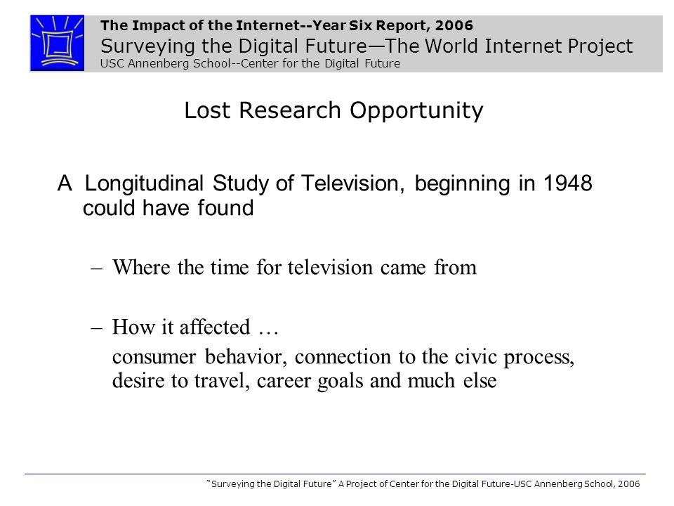 The Impact of the Internet--Year Six Report, 2006 Surveying the Digital FutureThe World Internet Project USC Annenberg School--Center for the Digital Future Surveying the Digital Future A Project of Center for the Digital Future-USC Annenberg School, 2006 How much of the information on Government Websites is generally reliable and accurate.