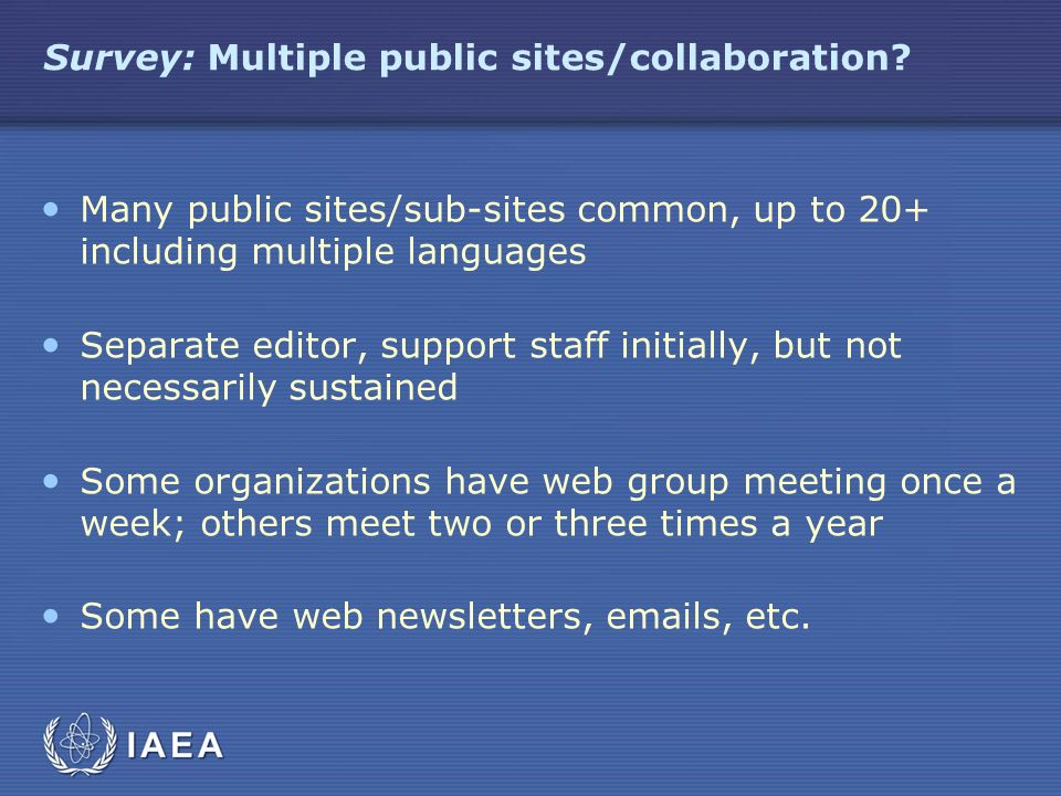 Survey: Multiple public sites/collaboration? Many public sites/sub-sites common, up to 20+ including multiple languages Separate editor, support staff