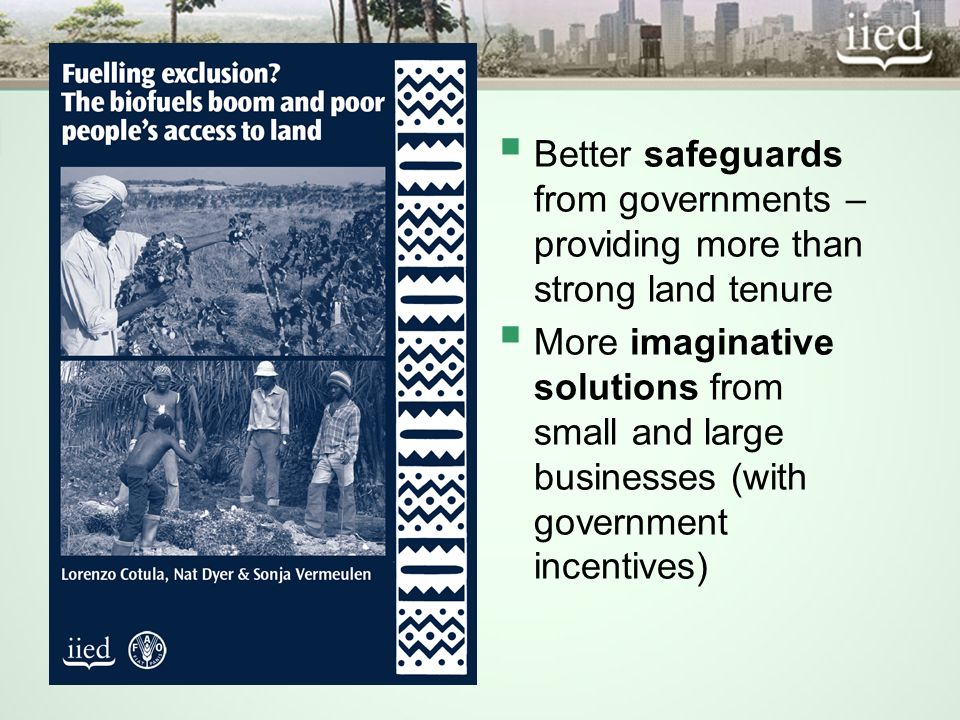 Better safeguards from governments – providing more than strong land tenure More imaginative solutions from small and large businesses (with governmen