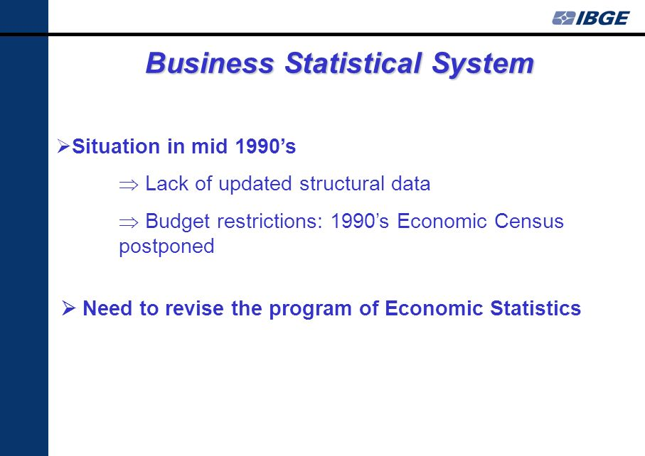 Business Statistical System Situation in mid 1990s Lack of updated structural data Budget restrictions: 1990s Economic Census postponed Need to revise the program of Economic Statistics