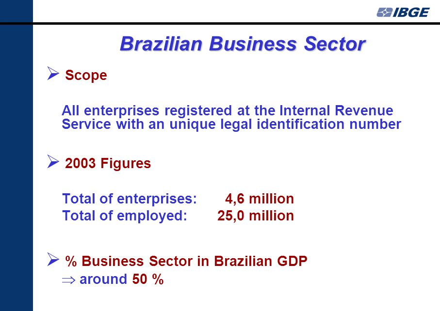 Brazilian Business Sector Scope All enterprises registered at the Internal Revenue Service with an unique legal identification number 2003 Figures Total of enterprises: 4,6 million Total of employed: 25,0 million % Business Sector in Brazilian GDP around 50 %