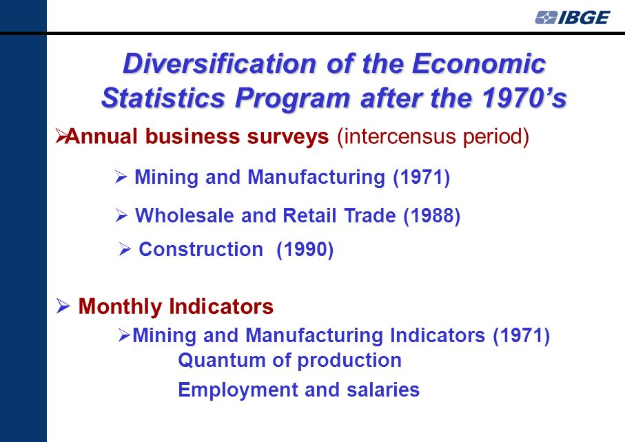 Diversification of the Economic Statistics Program after the 1970s Mining and Manufacturing (1971) Construction (1990) Wholesale and Retail Trade (1988) Mining and Manufacturing Indicators (1971) Quantum of production Employment and salaries Annual business surveys (intercensus period) Monthly Indicators
